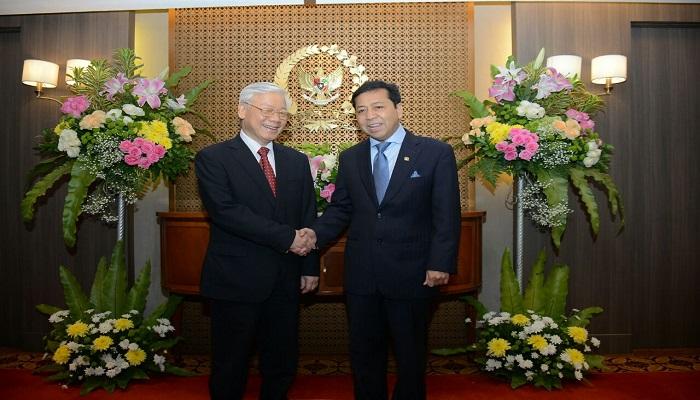 Ketua DPR RI Setya Novanto menerima kunjungan Sekjen Partai Komunis Vietnam, Nguyen Phu Trong pada Selasa, 22 Agustus 2017 di Gedung DPR RI Senayan, Jakarta Pusat. (Foto: Ucok Al Ayubbi/Nusantaranews)