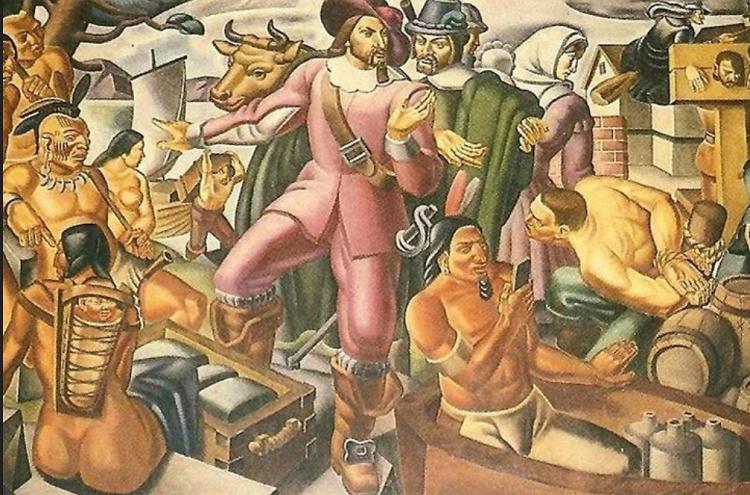 Lukisan Mural Seorang Memegang Benda Seperti Smarphone/Foto via mirror/Nusantaranews