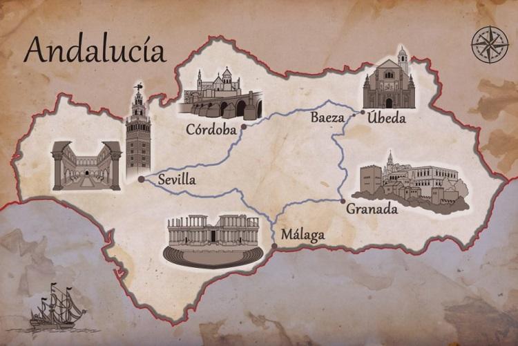 Peta Andalusia/Foto via cloudfront/Nusantaranews
