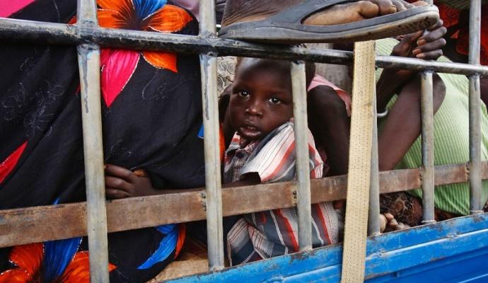 Pengungsi Sudan Selatan di sebuah kamp PBB di Sudan. (AFP Photo/ASHRAF SHAZLY)