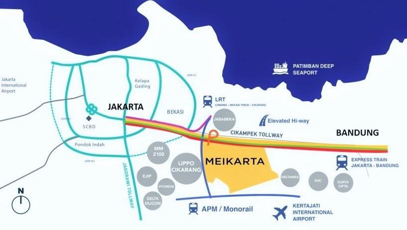 Peta Kawasan Rencana Kota baru Meikarta (Ilustra). Foto: Dok. www.meikarta-lippocikarang.com