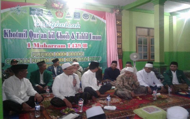 Istighosah, tahlil umum, khataman Al-Qur'an dan maulid di Gedung MWC NU Mejobo dalam rangka menyambut tahun baru 1439 Hijriyyah Kamis (21/9) malam. (Foto: Fakhrudin)