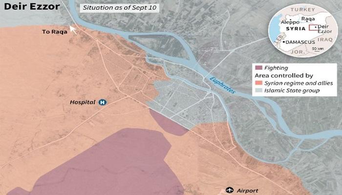 Peta close-up Deir Ezzor, zona pertempuran dan wilayah yang dikuasai rezim Suriah dan ISIS. (Foto: SOHR, maps4news.com/HERE/AFP)