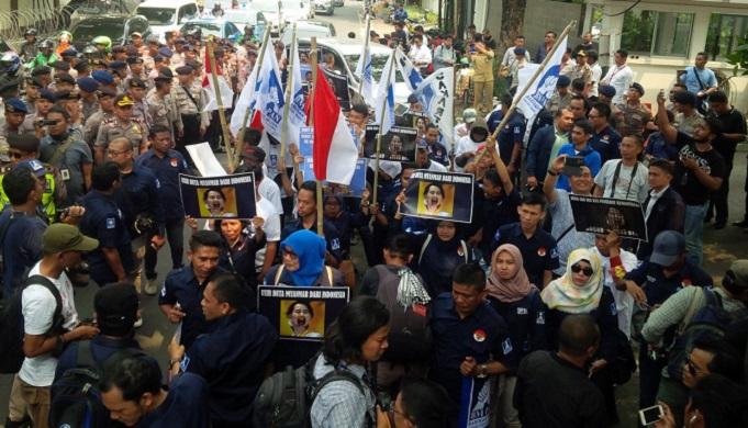 Situasi Aksi Solidaritas BM PAN di Kedubes Myanmar, Senin 4 September 2017. Foto Istimewa/ NusantaraNews.co