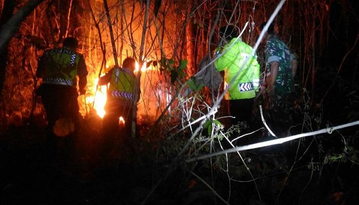 Personil TNI dan Polri Ponorogo berusaha memadamkan kobaran api di hutan ponorogo yang terbakar pada Ahad (10/9). (Foto: Muh Nurcholis/NusantaraNews)