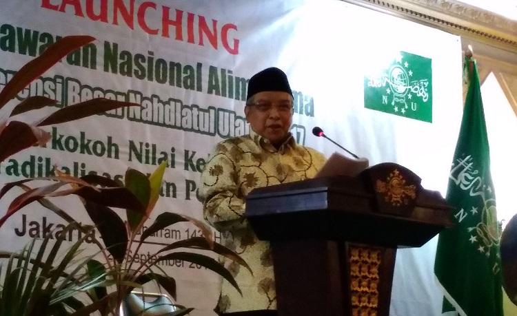 Ketua PBNU Said Aqil Siroj Saat Launching Munas NU 2017 di Gedung PBNU. (Foto Ach. Sulaiman/Nusantaranews)