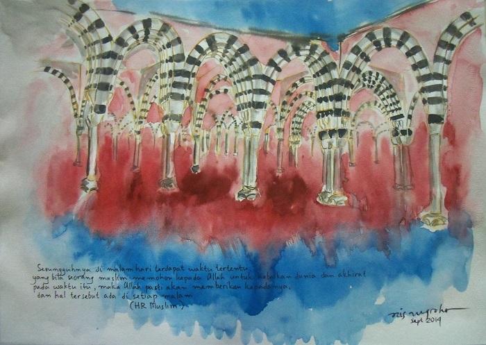 Masjid Nabawi. Lukisan: Dok. galerilukisancaknug1.wordpress.com