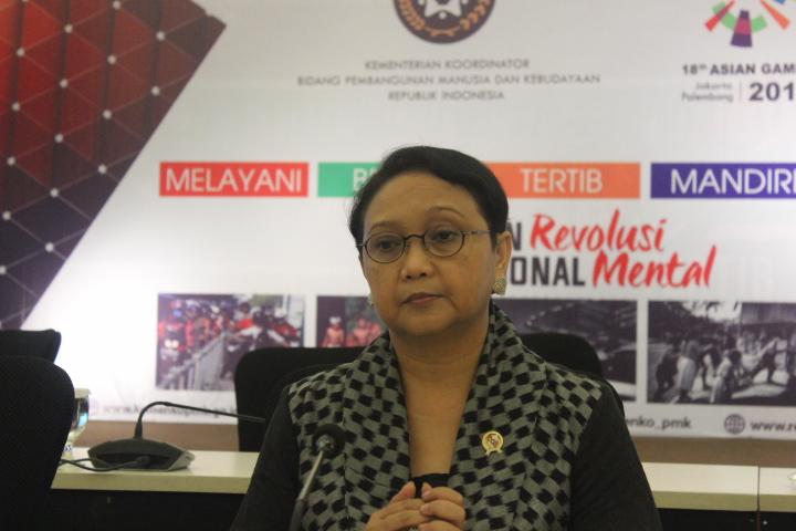 Menteri Luar Negeri Retno Marsudi usai Konferensi pers usai rapat koordinasi tingkat menteri di Kemenko PMK, Jakarta Pusat, Kamis (1492017). Foto Rivhard Andika/ NusantaraNews.co