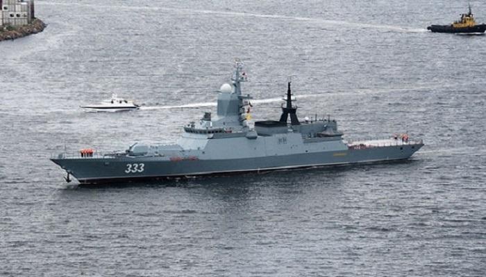 Kapal perang anti kapal selam milik angkatan laut Rusia, Sovershenny. (Foto: Yuri Smetyuk/TASS)