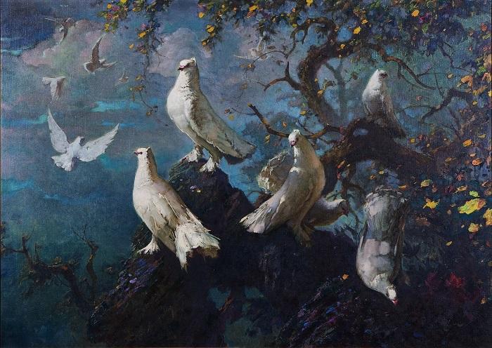 Lukisan Doves (burung merpati) salah satu mahakarya dari Lee man Fong. Foto: Dok. Suara Pembaruan