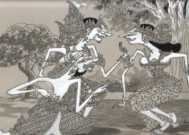 Patih Sengkuni (bawah) menghadap Adipati Destrarastra dan Dewi Gendari. Karya herjaka HS, Foto: Dok. Tembi