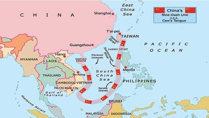 Peta Nine Dash Line Yang Diinvasi Cina Di LCS (Istimewa/Nusantaranews)