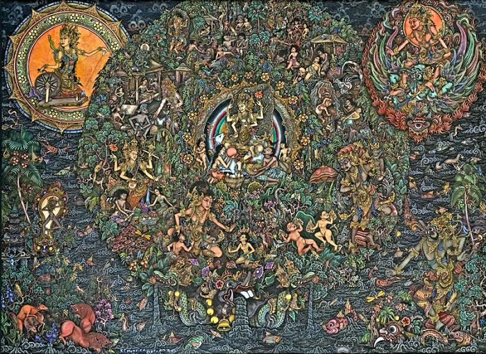 The Wheel of Life, I Ketut Murtika, Gouache on cloth. Foto: Dok. wikimedia