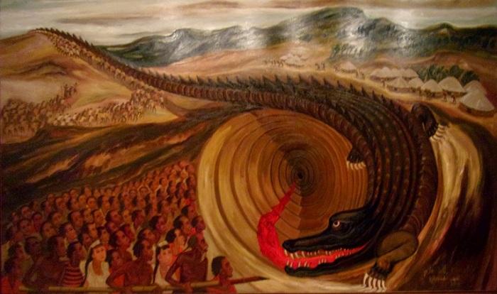 "Lukisan Djoko Pekik, ""Go To Hell Crocodile"" 100cm x 140cm, 1991. Foto: Dok. Istimewa"