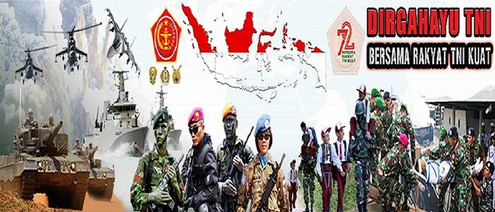 Hari Ulang Tahun (HUT) Tentara Nasional Indonesia (TNI) Ke-72, Bersama Rakyat, TNI Kuat. (Foto: Puspen TNI)