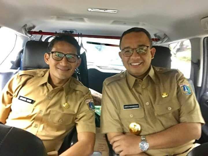 Gubernur dan Wakil Gubernur DKI Jakarta, Anies Baswedan-Sandiaga Uno. (Foto: Ical Frontline)