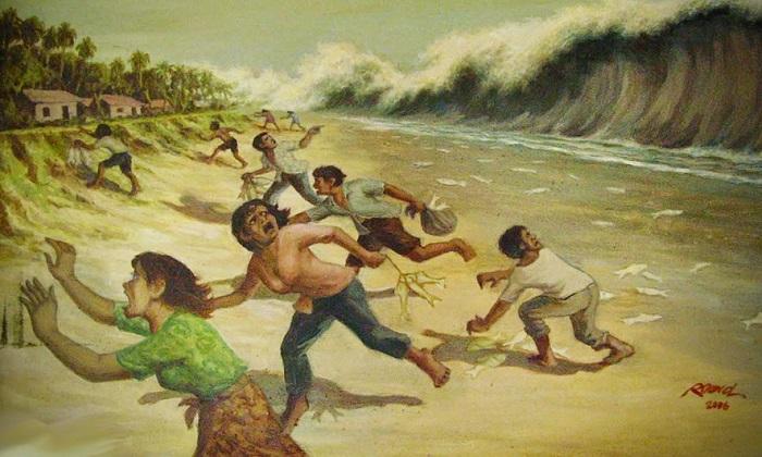 "Sebuah lukisan ""Tsunami Aceh"" karya Round Kelana di Museum Tsunami Aceh. Foto: Dok. indonesiakreatif.bekraf"
