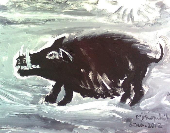 (Ilustrasi) Lukisan Joko Pekik. Dibuat di Padang tahun 2012. Foto: Dok. pinokioze (blog).