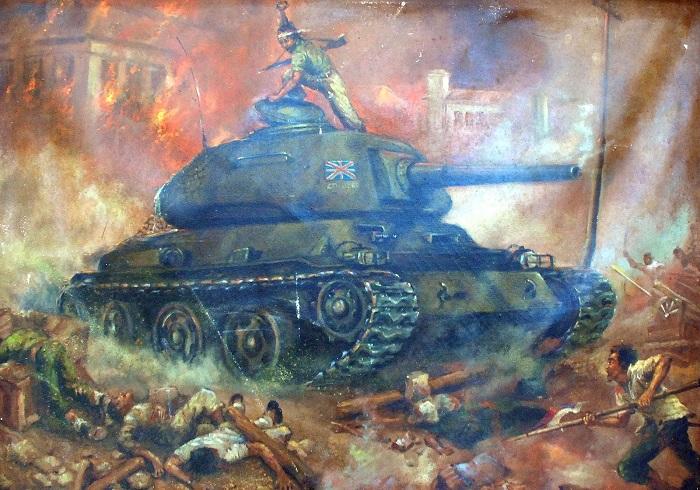 Lukisan tentang sejarah perjuangan rakyat Indonesia tahun 1945. Foto: Dok. Istimewa