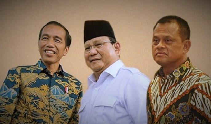 Prabowo Subianto, Gatot Nurmantyo dan Joko Widodo. Ilustrasi Foto: Dok. Reblika