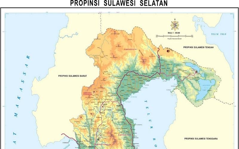 Peta Sulawesi Selatan. (Foto: Istimewa)