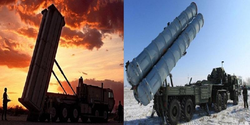 Sistem pertahanan rudal THAAD AS dan sistem pertahanan udara terpadu S-400 Rusia. (Foto: NusantaraNews)