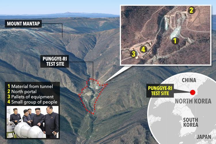 Situs uji coba senjata nuklir Korea Utara, Punggye-ri di sisi Gunung Mantap (Mount Mantap) runtuh dan mengakibatkan 200 orang tewas. (Foto: The Sun)