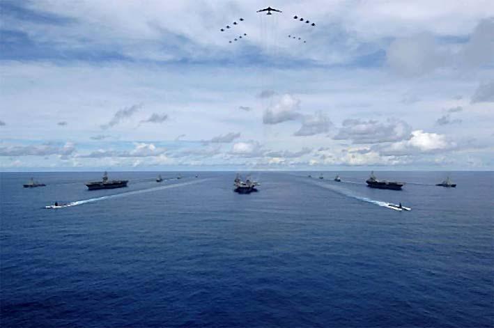 Ilustrasi Latihan Bersama Armada Ke-7 AS/Foto: Japan Times