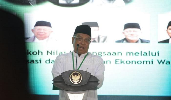 Ketua Umum PBNU KH. Said Aqil Siroj saat sambutan pada Munas Alim Ulama dan Konbes NU 2017 di Masjid Raya Hubbul Wathan, Islamic Center, Mataram, 23-25 November 2017. Foto: Dok. Munas Alim Ulama 2017