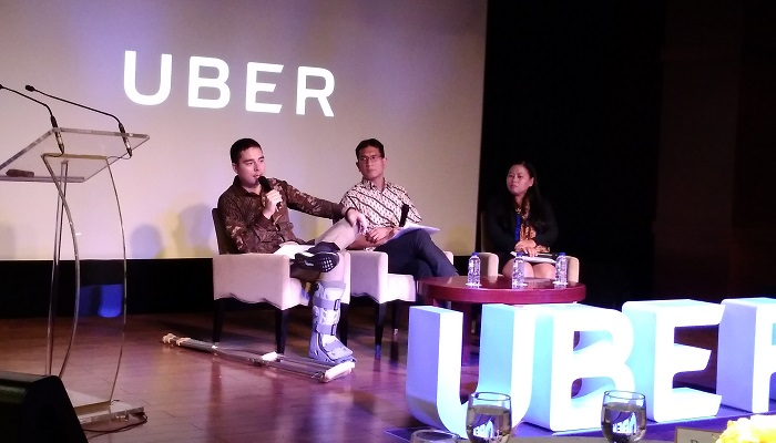 Head of Public Policy and Government Affairs, Indonesia, Uber, John Colombo di acara peluncuran kampanye #UnlockJakarta yang diadakan hari Rabu, 1 November 2017. Foto Ach. Sulaiman/ NusantaraNews