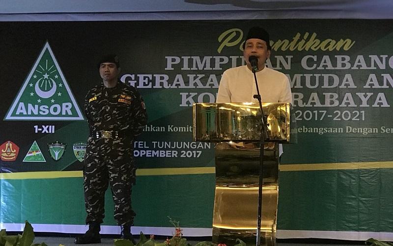 Pengurus baru Pimpinan Cabang Gerakan Pemuda Ansor Kota Surabaya Masa Khidmat 2017-2021 diingatkan menjaga amanah. (Foto: Istimewa)