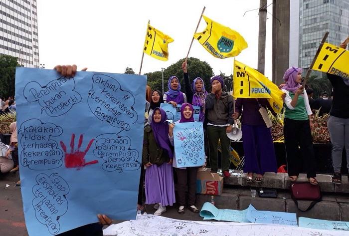 KOPRI PB PMII Gelar Aksi di Bundaran HI (Foto Nita/Nusantaranews.co)