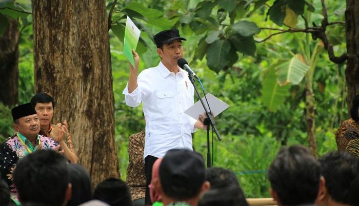 Presiden RI, Joko Widodo saat penyerahan Serifikat Izin Pengelolaan Hutan di Desa Wungu, Kab. Madiun. Foto: Dok. Istimewa/ Yudie