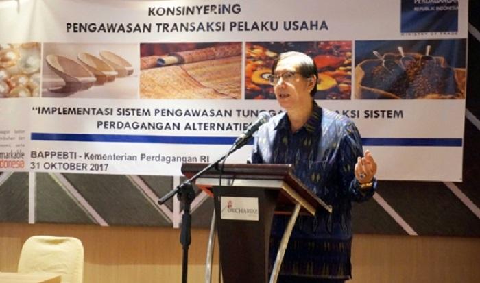 Kepala Badan Pengawas Perdagangan Berjangka Komoditi (Bappebti) Kemendag, Bachrul Chairi meresmikan Sistem Pengawasan Tunggal Transaksi Sistem Perdagangan Alternatif (SPTT-SPA) hari ini, Selasa (31/10) di Jakarta. Foto: DOk. Humas Kemendag