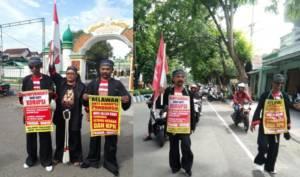 Demi Tegaknya Pemberantasan Korupsi, Dua Warga Ponorogo Jalan Kaki ke Jakarta. Kedua orang itu tercatat sebagai relawan LSM 45, yaitu Wakidi dan Pujiana. Foto: Muh Nurcholis/ NusantaraNews