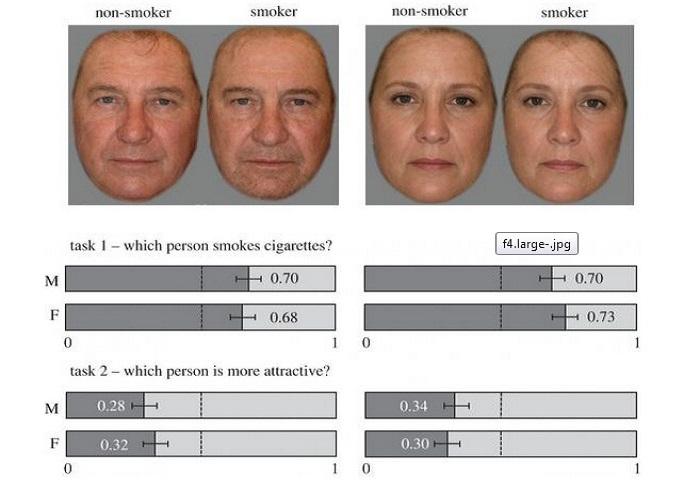 Sketsa wajah Perokok dan Non Perokok. Foto: The Independent