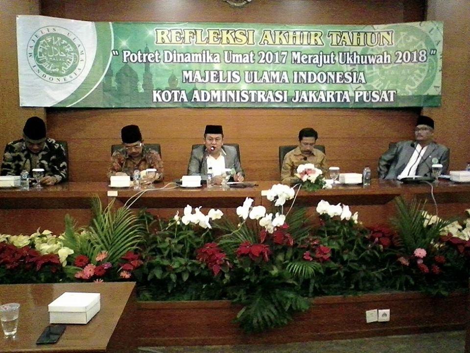 Majelis Ulama Indonesia Kota Administrasi Jakarta Pusat menggelar acara Refleksi Akhir Tahun Masehi 2017 pada Sabtu, 23 Desember 2017. Foto: Istimewa