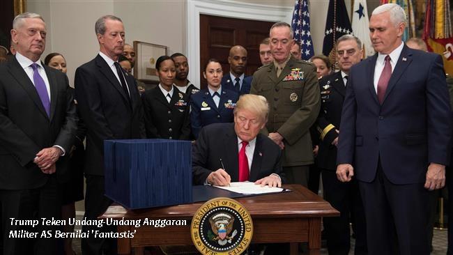 Trump Teken Anggaran Alutsista Besar-besaran, Pasca Dikecam Dunia Gegara Yerusalem. Foto Istimewa