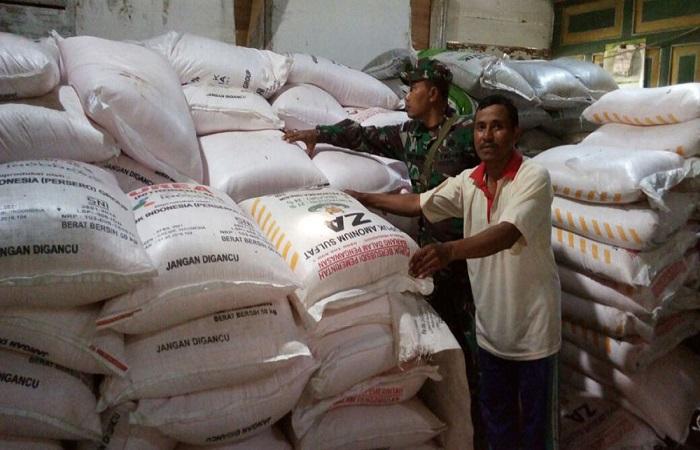 Babinsa Koramil 0812/10 Babat Sertu Didik melakukan pengecekan kios pupuk di desa binaan, Desa Kebonagung Kecamatan Babat, Senin (22/01/18). Foto: Dok. Penrem 082/CPYJ