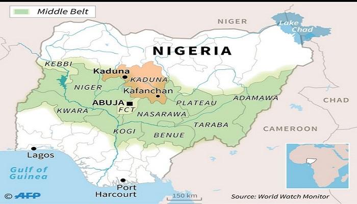 Peta lokasi tempat penculikan di negara bagian Kaduna, Nigeria. Foto: World Watch Monitor