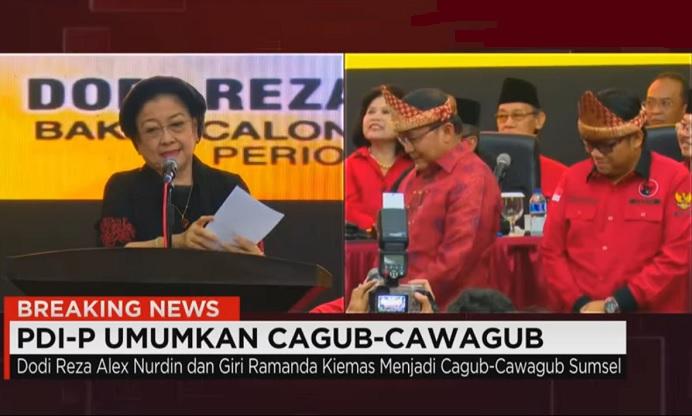 Megawati umumkan Cagub-Cawagub Sumatera Selatan Dodi Reza Alex Nurdin dan Giri Ramanda Kiemas. Foto Crop: Nusantaranews.co