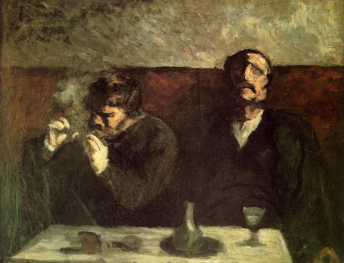 Dua lelaki penjinak Sepi di kursi (Ilustrasi). Foto: Dok. Honoré Daumier