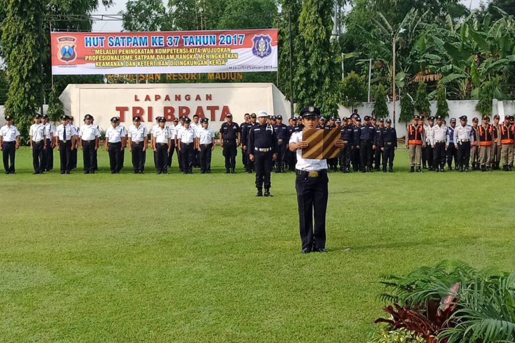 Peringatan Hari Ulang Tahun (HUT) Satuan Pengamanan (Satpam) ke-37 di Kota Madiun, Jawa Timur. Foto: Istimewa