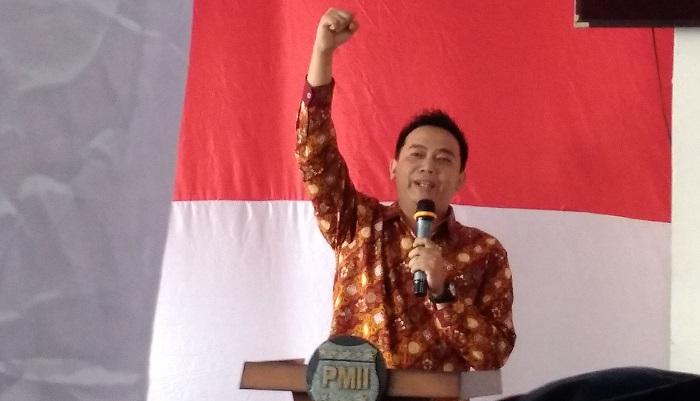 Ketua Umum PB PMII, Agus Herlambang saat sambutan pada acara Launching Fokus PB PMII di Graha Mahbub Junaidi, Jakarta, Selasa (23/1/2018). Foto Achmad S./ NusantaraNews