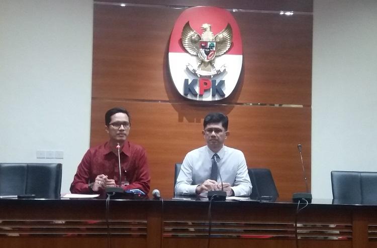 Wakil Ketua KPK, Laode Muhammad Syarief bersama Jubir KPK Febri Diansyah (Foto Restu Fadilah)
