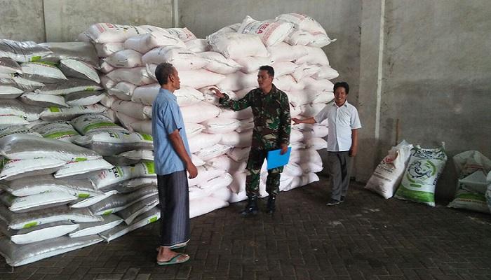Babinsa Koramil 0812/ 02 Deket Sertu Yuli mengecek subsidi pupuk di kios pengecer di Lamongan, Jawa Timur. Foto: Istimewa