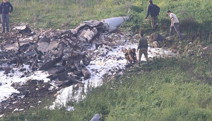 Puing-puing jet tempur F-16 Angkatan Udara Israel (IDF) yang ditembak jatuh sistem pertahanan udara Suriah.