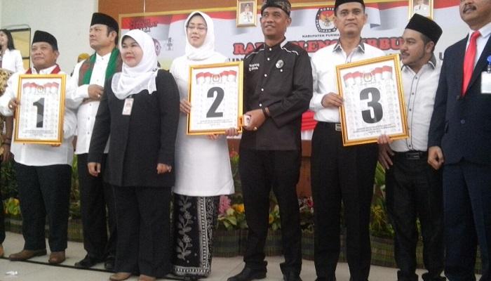 KPUD Purwakarta menetapkan nomor urut peserta Pilkada Serentak Kabupaten Purwakarta, Jawa Barat tahun 2018. (Foto: Fuljo/NusantaraNews)