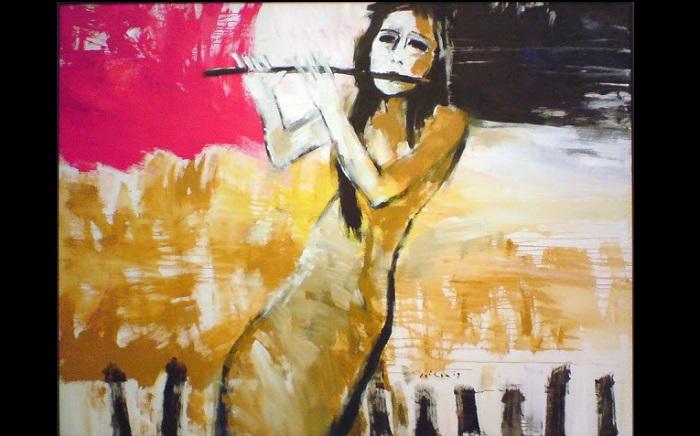 Lukisan Jeihan - Perempuan bermain seruling. Foto: blog rupasenirupa