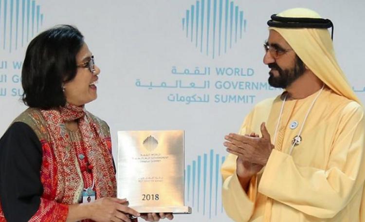 Menteri Sri Mulyani Saat Terima Penghargaan Sebagai Menteri Terbaik Dunia (Foto Istimewa)